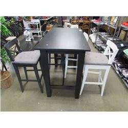 BAR HEIGHT DINING TABLE & 4 CHAIRS