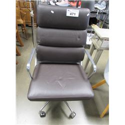 BROWN FAUX LEATHER OFFICE CHAIR & SMALL GREY CLOTH CHAIR