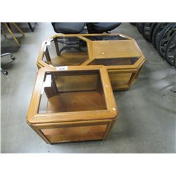 OAK GLASS PANEL COFFEE TABLE AND SIDE TABLE