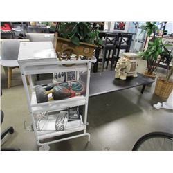 3 TIER WHITE CART & ASSORTED HOUSEHOLD DECOR