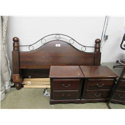 KING SIZE BED FRAME WITH HEAD AND FOOT BOARD INCLUDES 2 SIDE TABLES