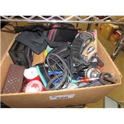BOX  OF CLOTHING, ELECTRONICS, HOUSEHOLD ITEMS, HOOKAH, BASEBALL GLOVE, ASSORTED CASES, ETC