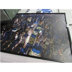 LARGE FRAMED NIGHT TIME CITY LANDSCAPE PHOTO