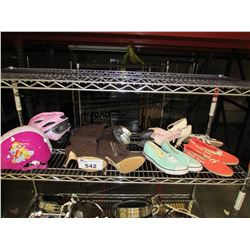 ASSORTED SHOES & CHILDS HELMET