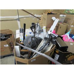 PALLET OF ASSORTED BLINDS, FANS & HOUSEHOLD ITEMS