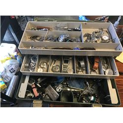 TACKLE BOX OF ASSORTED WATCHES, ETC (POLICE RECOVERED)