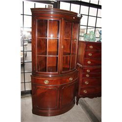 MAHOGANY CURVED FRONT CORNER CABINET BY DREXEL