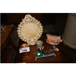 LOT OF COLLECTIBLES INCLUDING CAST IRON COIN BANK, BAPCO PURE PUTTY TIN, CAST IRON FRAME AND MORE