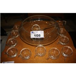 GLASS PUNCH BOWL & CUP SET