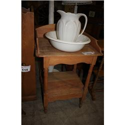 ANTIQUE WASH STAND WITH JUG & BOWL SET