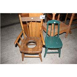 ANTIQUE CHILD'S POTTY CHAIR AND ANTIQUE CHILD'S CHAIR