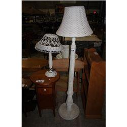 VINTAGE WICKER FLOOR LAMP WITH VINTAGE WICKER TABLE LAMP