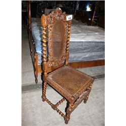 ANTIQUE HIGHLEY CARVED BARLEY TWIST CHAIR