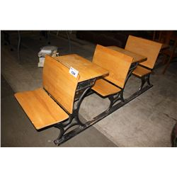 ANTIQUE GLOBE 3-SEAT SCHOOL DESKS