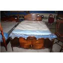 DOUBLE SIZE ANTIQUE WALNUT BED SET (HEADBOARD, FOOTBOARD & RAILS)