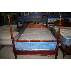 DOUBLE SIZE ANTIQUE 4 POSTER BED SET (HEADBOARD, FOOTBOARD & RAILS)