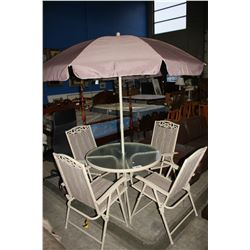 OUTDOOR PATIO SET INCLUDING TABLE WITH UMBRELLA AND 4 CHAIRS