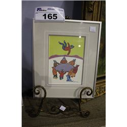 """FRAMED PRINT """"BOUNCING FOR JOY"""" SIGNED BY HARRISON WITH STAND"""