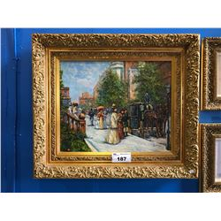 FRAMED OIL PAINTING SIGNED R. STONE, VICTORIAN SUNDAY