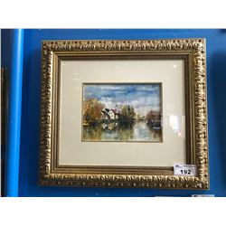 FRAMED WATERCOLOUR SIGNED BOTTOM RIGHT, COUNTRY HOUSE
