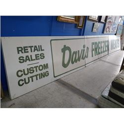 "LARGE 3 PIECE ""DAVIS FREEZER MEATS"" RETAIL SIGN"