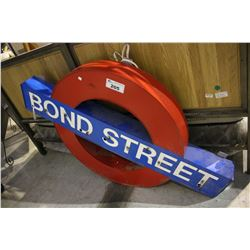 "LIGHT-UP ""BOND STREET"" LONDON UNDERGROUND STYLE SIGN *NEEDS REPAIR*"