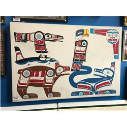 "LARGE ABORIGINAL ART ON CANVAS ""RAVEN, KILLER WHALE, BEAR, EAGLE, SUN, WOLF"" SIGNED BEN HOUSTIE"