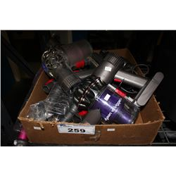 BOX OF DYSON VACUUMS / PARTS