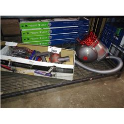 DYSON BIG BALL CINETIC ANIMAL CANISTER VACUUM AND BOX OF DYSON STICK VAC PARTS