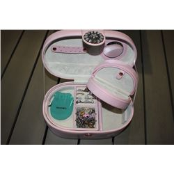 PINK JEWELRY BOX WITH CONTENTS