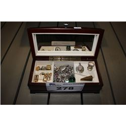 WOOD JEWELRY BOX WITH CONTENTS