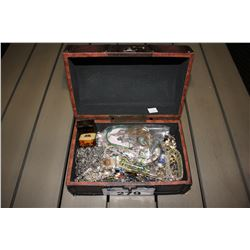 TRUNK STYLE JEWELRY BOX WITH CONTENTS