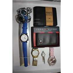 LOT INCLUDING PAIR OF WALLETS (ROOTS & TOMMY HILFIGER), PAIR OF BULOVA WATCHES, AKTEO WATCH AND 3