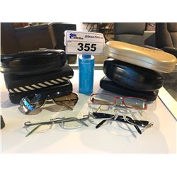 4 PRESCRIPTION GLASSES WITH 6 CASES AND JEWELRY CLEANER