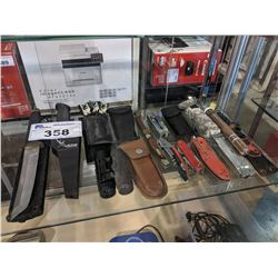 LOT OF ASSORTED KNIVES, BINOCULARS AND MORE