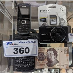 SONY DIGITAL CAMERA WITH 8 GB MEMORY CHIP, 500 MEXICAN PESOS AND PAIR OF CELLPHONES