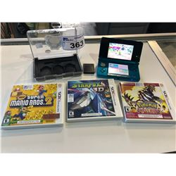 NINTENDO 3DS WITH CASE AND 3 GAMES