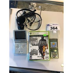 GAMEBOY ADVANCE SP WITH PAIR OF GAMES, BATTLEFIELD (FOR XBOX360) AND HEADSET
