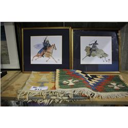 PAIR OF FRAMED WATERCOLOURS AND PAIR OF WOOL TAPESTRY