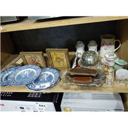 SHELF OF VINTAGE COLLECTIBLES INCLUDING DISHWARE, GLASSES, DECOR AND MORE