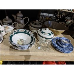 NORITAKE KELTCRAFT FARM PRINT TEA SET, DISHWARE, COOKWARE AND ASSORTED DISHES