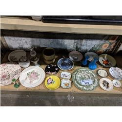 SHELF OF ASSORTED PRINT VINTAGE DISHWARE