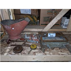 SHELF OF VINTAGE TOOLS, FIREPLACE WATER BUCKET AND ANCHOR BRAND CLOTHING RINGER