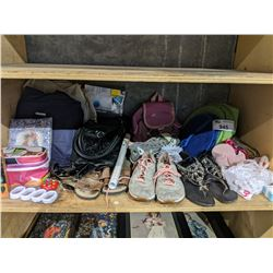 SHELF INCLUDING GREY CONVERSE SNEAKERS, CLOSET ORGANIZERS, SHOES, BAGS AND MORE HOUSEHOLD GOODS