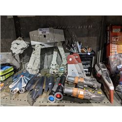 SHELF OF STAR WARS COLLECTABLE TOYS AND PARTS