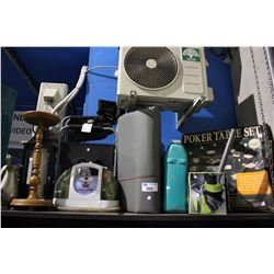 SHELF OF ASSORTED CAMPING GEAR, CAR VACUUM, POKER TABLE, LANTERN, PEDESTAL AND JUG