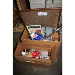 2 BOXES INCLUDING CORKBOARD, RAT TRAP, PROTEIN BARS, POP, ELECTRONICS AND MORE