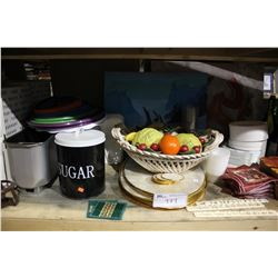 LARGE SHELF OF HOME STAGING ITEMS INCLUDING CHAFING DISHES, FAKE WINE AND MORE