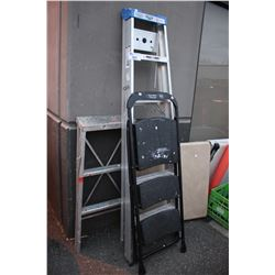 3 LADDERS AND FOLDING TABLE
