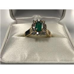 LADIES 14K WHITE & YELLOW GOLD EMERALD & 14 DIAMOND RING - APPRAISED VALUE $5405.00